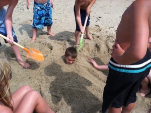 Joey in the sand